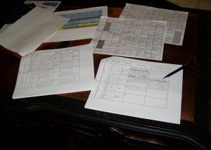 A portion of the Astroplotting ridiculousness. My copper-clad desk totally helps things go smoother. Somehow?