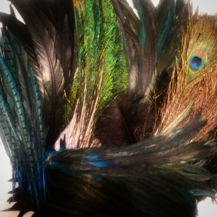 Honestly though! Look at the gorgeousness of these feathers. This is just a portion... A ton more black ostrich feathers + some silver rooster tails.
