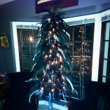 Nighttime pic of the finished feather tree. I love it.