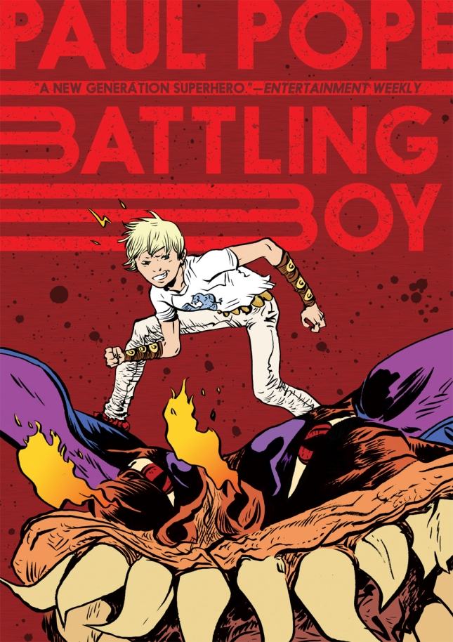 This teen reader walks out with a free copy of Battling Boy by Paul Pope